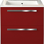 24 inch Modern Wall Mounted Bathroom Vanity Red Glossy Finish