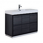 48 inch Integrated Sink Top Gray Oak Finish Free Standing Modern Bathroom Vanity