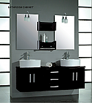 Aber Contemporary 59-inch Double Wall Mounted Vanity Set