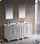 "60"" Antique White Traditional Double Sink Bathroom Vanity with Top, Sink, Faucet and Linen Cabinet"