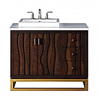 "Adelina 42"" Contemporary Collection Italian Wenge Vanity Quartz Stone Top"
