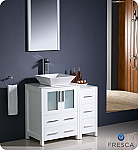 "36"" White Modern Bathroom Vanity Vessel Sink with Faucet and Linen Side Cabinet Option"