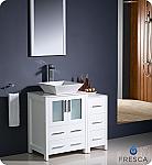 "Fresca Torino 36"" White Modern Bathroom Vanity with Side Cabinet"