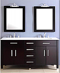 72 inch Contemporary Double Sink Bathroom Vanity Espresso Finish