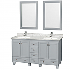"Acclaim 60"" Double Bathroom Vanity in Oyster Gray, Undermount Square Sinks with Countertop and Mirror Options"