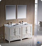 "60"" Antique White Traditional Double Bathroom Vanity with Top, Sink, Faucet and Linen Cabinet Option"