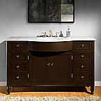 Accord 58 inch Traditional Bathroom Vanity Dark Walnut Finish
