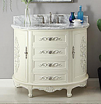 "Antique Style 42"" Collection White Oval Bathroom Vanity"