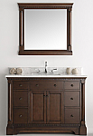 49 inch Antique Coffee Bathroom Vanity with Mirror Carrera Marble Countertop