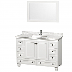 "Acclaim 48"" Single Bathroom Vanity in White, Undermount Square Sink, and 24"" Mirror with Countertop Options"