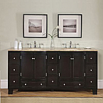 Accord Contemporary 72 inch Double Sink Bathroom Vanity Travertine Top