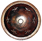 Copper Round Star 15 inch Sink Chocolate Finish