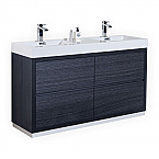 "Modern Lux 60"" Double Sink Gray Oak Free Standing Modern Bathroom Vanity"