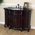The Bella Collection 48 inch Antique Single Sink Wood Dark Mahogany Bathroom Vanity