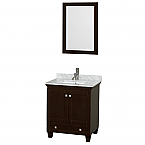 "Acclaim 30"" Single Bathroom Vanity in Espresso, White Carrara Marble Countertop, Undermount Square Sink, and 24"" Mirror"