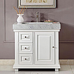 36 inch Bathroom Vanity White Finish Integrated Carrara White Marble Sink