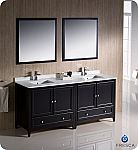 "72"" Espresso Traditional Double Sink Bathroom Vanity with Top, Sink, Faucet and Linen Cabinet Option"