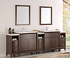 "96"" Antique Coffee Double Sink Traditional Bathroom Vanity in Faucet Option"