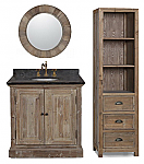 36 inch Rustic Single Sink Bathroom Vanity Marble Top