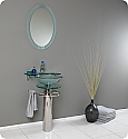 "Fresca Ovale Collection 24"" Modern Glass Bathroom Vanity with Faucet and Cabinet Option"