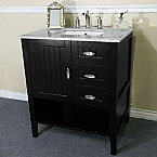 29 Inch Espresso Finish Vanity White Carrara Marble Top