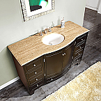 Accord Contemporary 55 inch Single Sink Bathroom Vanity Travertine Top