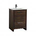 24 inch Rose Wood White Modern Bathroom Vanity with White Quartz Countertop
