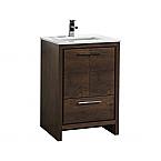 "Modern Lux 24"" Rose Wood Modern Bathroom Vanity with White Quartz Counter-Top"