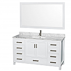 "Sheffield 60"" Single Bathroom Vanity in White with Countertop, Undermount Sink, and Mirror Options"