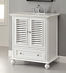 30 inch Adelina Cottage White Finish Bathroom Vanity