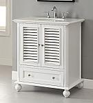 30 inch Adelina Cottage White Finish Bathroom Vanity