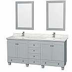 "Acclaim 72"" Double Bathroom Vanity in Oyster Gray, Undermount Square Sinks with Countertop and Mirror Options"