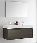"48"" Gray Oak Wall Hung Double Sink Modern Bathroom Vanity with Faucet, Medicine Cabinet and Linen Side Cabinet Option"