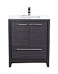 30 inch Gray Oak Modern Bathroom Vanity with White Quartz Countertop