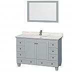 48 inch Single Sink Bathroom Vanity in Grey Finish, Marble Countertop