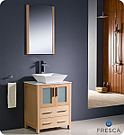 "24"" Light Oak Modern Bathroom Vanity Vessel Sink with Faucet and Linen Side Cabinet Option"
