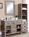 48 inch Rustic Bathroom Vanity Carrera White Marble Top