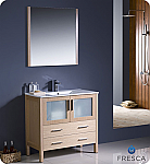 "Fresca Torino 36"" Light Oak Modern Bathroom Vanity with Faucet and Linen Side Cabinet Option"