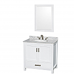 "Sheffield 36"" Single Bathroom Vanity in White with Countertop, Undermount Sink, and Mirror Options"