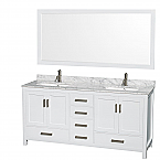 "Sheffield 72"" Double Bathroom Vanity in White with Countertop, Undermount Sinks, and Mirror Options"