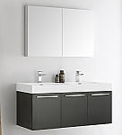 48 inch Black Wall Mounted Double Sink Modern Bathroom Vanity