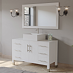 "48"" Modern White Wood & Porcelain Single Vessel Bathroom Vanity Set Chrome Faucet"