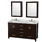 "Sheffield 60"" Double Bathroom Vanity in Espresso with Countertop, Undermount Sinks, and Mirror Options"