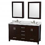 60 inch Double Sink Bathroom Vanity Espresso Finish