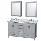 "Sheffield 60"" Double Bathroom Vanity in Gray with Countertop, Undermount Sinks, and Mirrors Options"