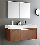 48 inch Teak Wall Mounted Double Sink Modern Bathroom Vanity