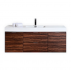 60 inch Wall Mount Single Sink Modern Bathroom Vanity Walnut Finish