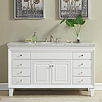 60 inch Transitional Bathroom Vanity White Finish Carrara Marble Top