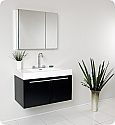 "36"" Black Modern Bathroom Vanity with Faucet, Medicine Cabinet and Linen Side Cabinet Option"