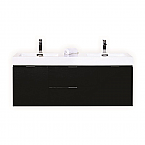 60 inch Wall Mount Double Sink Modern Bathroom Vanity Black Finish